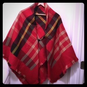 Red plaid wool blend poncho front clasp